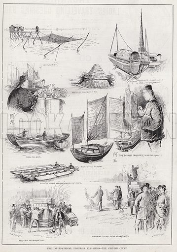 The International Fisheries Exhibition, The Chinese Court. Illustration for The Illustrated Sporting and Dramatic News, 12 May 1883.
