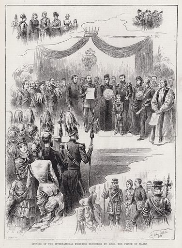 Opening of the International Fisheries Exhibition by HRH the Prince of Wales. Illustration for The Illustrated Sporting and Dramatic News, 19 May 1883.
