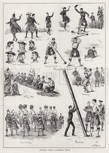 Highland Games at Stamford Bridge. Illustration for The Illustrated Sporting and Dramatic News, 26 May 1883.