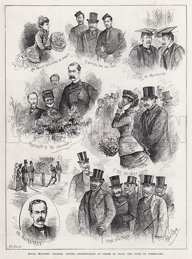 Royal Military College, Oxford, Presentation of Prizes by HRH the Duke of Connaught. Illustration for The Illustrated Sporting and Dramatic News, 23 June 1883.