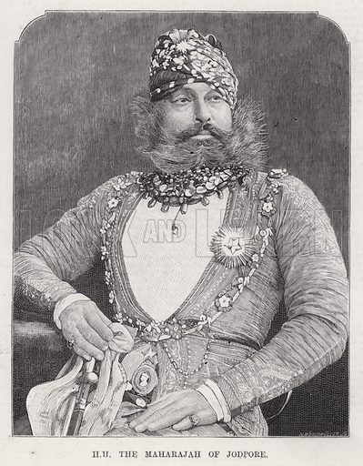 HH the Maharajah of Jodpore. Illustration for The Illustrated Sporting and Dramatic News, 11 August 1883.