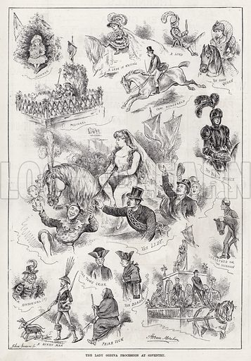 The Lady Godiva Procession at Coventry. Illustration for The Illustrated Sporting and Dramatic News, 18 August 1883.