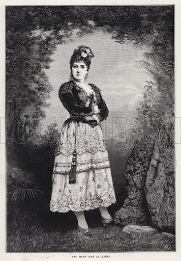 Madame Marie Roze as Carmen. Illustration for The Illustrated Sporting and Dramatic News, 25 August 1883.