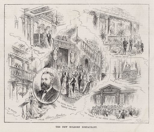 The New Holborn Restaurant. Illustration for The Illustrated Sporting and Dramatic News, 27 October 1883.