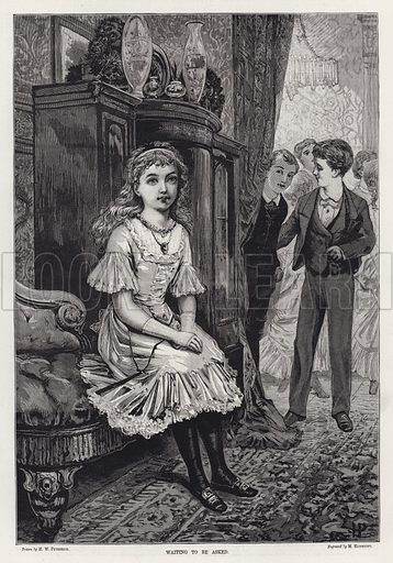 Waiting to be Asked. Illustration for The Illustrated Sporting and Dramatic News, 8 December 1883.