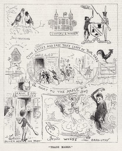 """""""Trade Marks."""" Illustration for The Illustrated Sporting and Dramatic News, 22 December 1883."""