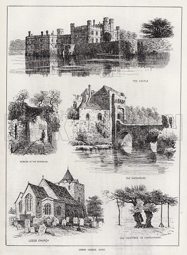 Leeds Castle, Kent. Illustration for The Illustrated Sporting and Dramatic News, 23 February 1884.