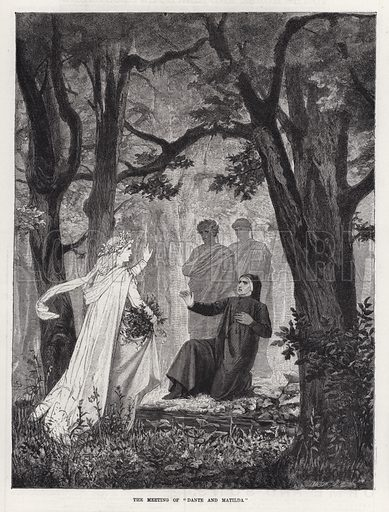 """The Meeting of """"Dante and Matilda."""" Illustration for The Illustrated Sporting and Dramatic News, 23 February 1884."""