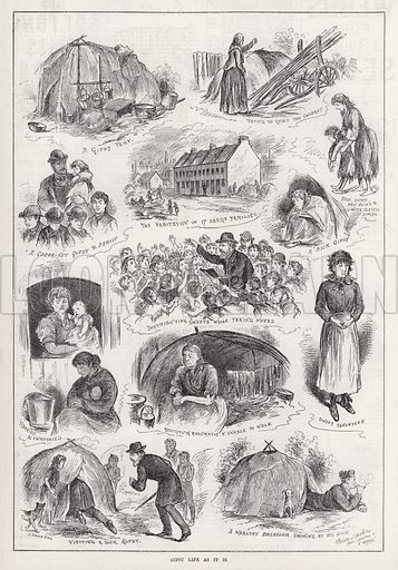 Gipsy Life as it is. Illustration for The Illustrated Sporting and Dramatic News, 1 March 1884.