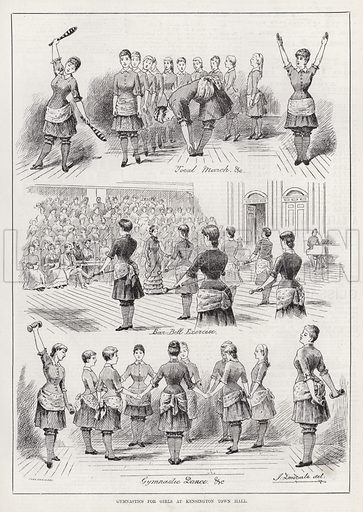 Gymnastics for Girls at Kensington Town Hall. Illustration for The Illustrated Sporting and Dramatic News, 15 March 1884.