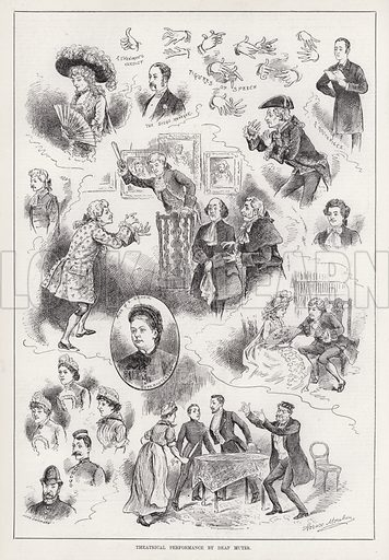 Theatrical Performance by Deaf Mutes. Illustration for The Illustrated Sporting and Dramatic News, 15 March 1884.