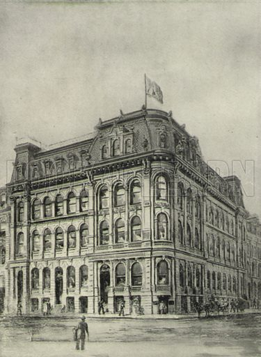 The British America Assurance Building, corner of Scott and Front Streets. Illustration for Toronto Illustrated, Published for the Department of Industries and Publicity (Ernest E Fligg and Albert E Hacker, 1908).