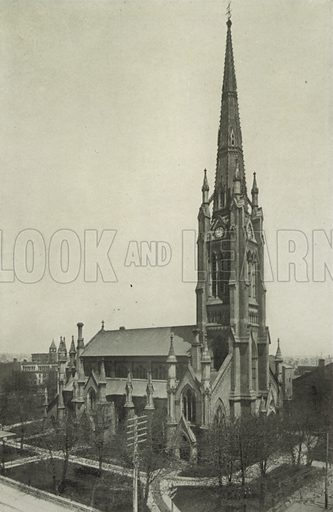 St James' Cathedral, Corner of King and Church Streets. Illustration for Toronto Illustrated, Published for the Department of Industries and Publicity (Ernest E Fligg and Albert E Hacker, 1908).