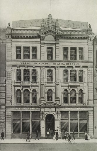 The Star Building, King Street West. Illustration for Toronto Illustrated, Published for the Department of Industries and Publicity (Ernest E Fligg and Albert E Hacker, 1908).