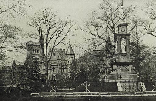 Ridgeway Monument, Queen's Park. Illustration for Toronto Illustrated, Published for the Department of Industries and Publicity (Ernest E Fligg and Albert E Hacker, 1908).