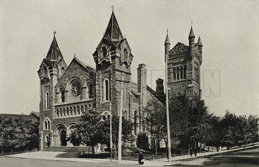 St Andrew's Church, Corner of King and Simcoe Streets. Illustration for Toronto Illustrated, Published for the Department of Industries and Publicity (Ernest E Fligg and Albert E Hacker, 1908).