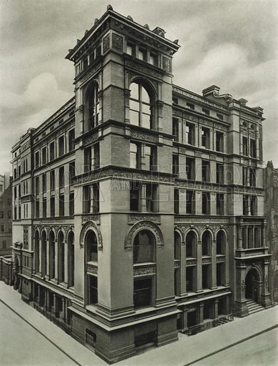 The Canadian Bank of Commerce Building, Corner of King and Jordan Streets. Illustration for Toronto Illustrated, Published for the Department of Industries and Publicity (Ernest E Fligg and Albert E Hacker, 1908).