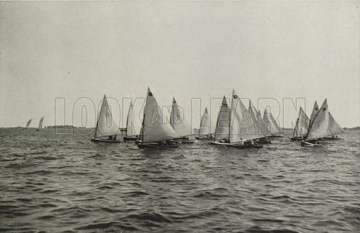 Sailing Races on Toronto Bay. Illustration for Toronto Illustrated, Published for the Department of Industries and Publicity (Ernest E Fligg and Albert E Hacker, 1908).