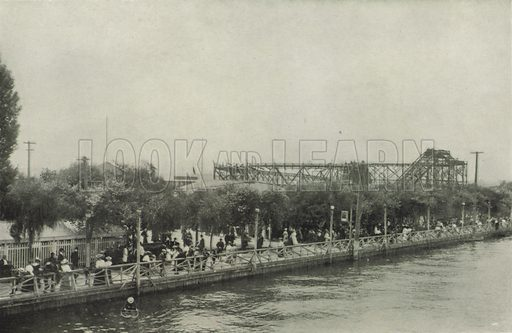 Hanlan's Point, Showing Promenade. Illustration for Toronto Illustrated, Published for the Department of Industries and Publicity (Ernest E Fligg and Albert E Hacker, 1908).