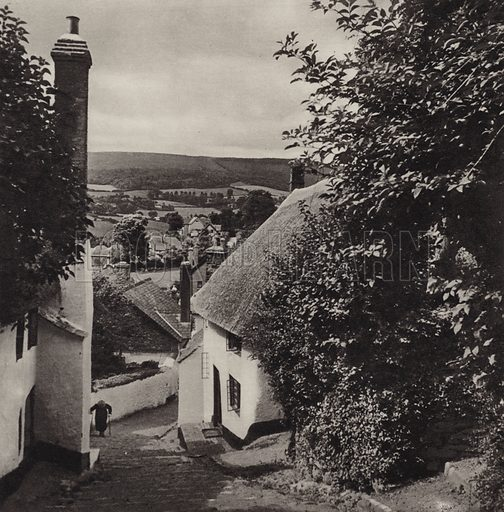 From the Church Steps, Minehead. Illustration for Lorna Doone Country, A Book of Photographs by S W Colyer (Ward Lock, c 1947).  Gravure printed.
