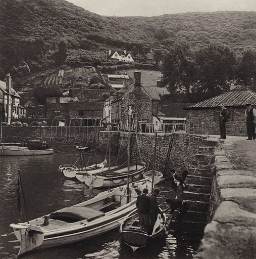 Porlock Weir. Illustration for Lorna Doone Country, A Book of Photographs by S W Colyer (Ward Lock, c 1947).  Gravure printed.