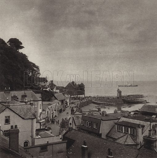 Lynmouth. Illustration for Lorna Doone Country, A Book of Photographs by S W Colyer (Ward Lock, c 1947).  Gravure printed.