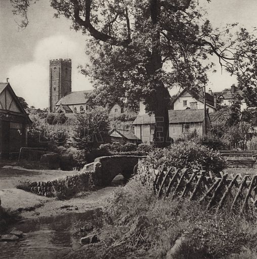 Winsford and its Church. Illustration for Lorna Doone Country, A Book of Photographs by S W Colyer (Ward Lock, c 1947).  Gravure printed.