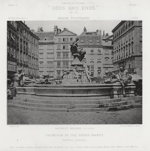 """Fountain in the Neuer Markt, Vienna, Austria. Illustration for Architectural """"Odds and Ends"""" No III, Minor Fountains (Heliotype Printing Co, 1894). Exquisitely printed."""