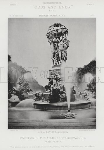 """Fountain in the Allee De L'Observatoire, Paris, France. Illustration for Architectural """"Odds and Ends"""" No III, Minor Fountains (Heliotype Printing Co, 1894). Exquisitely printed."""