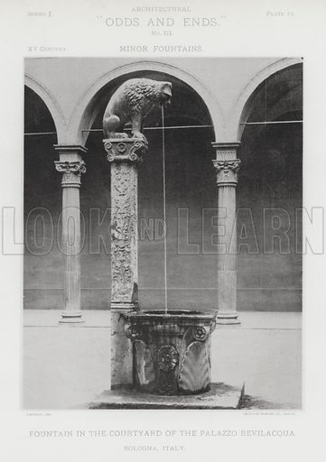"""Fountain in the Courtyard of the Palazzo Bevilacqua, Bologna, Italy. Illustration for Architectural """"Odds and Ends"""" No III, Minor Fountains (Heliotype Printing Co, 1894). Exquisitely printed."""