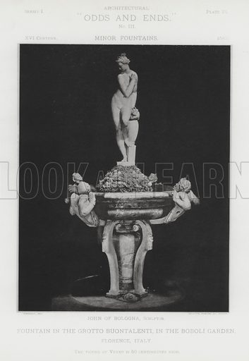 """Fountain in the Grotto Buontalenti, in the Boboli Garden, Florence, Italy. Illustration for Architectural """"Odds and Ends"""" No III, Minor Fountains (Heliotype Printing Co, 1894). Exquisitely printed."""