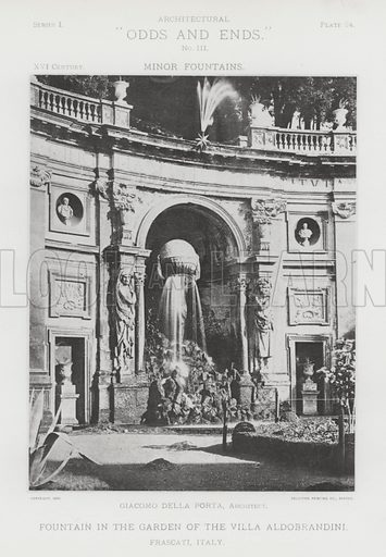 "Fountain in the Garden of the Villa Aldobrandini, Frascati, Italy. Illustration for Architectural ""Odds and Ends"" No III, Minor Fountains (Heliotype Printing Co, 1894). Exquisitely printed."