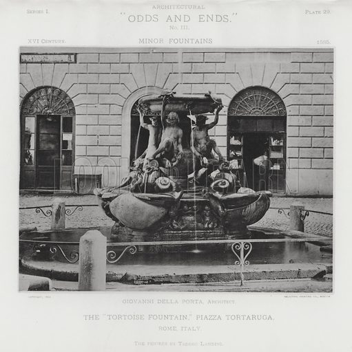 "The ""Tortoise Fountain,"" Piazza Tortaruga, Rome, Italy. Illustration for Architectural ""Odds and Ends"" No III, Minor Fountains (Heliotype Printing Co, 1894). Exquisitely printed."