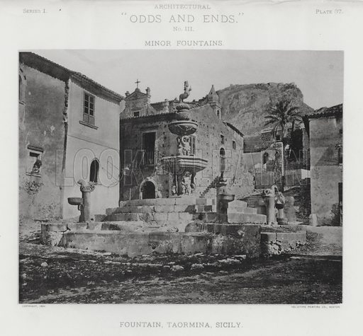 """Fountain, Taormina, Sicily. Illustration for Architectural """"Odds and Ends"""" No III, Minor Fountains (Heliotype Printing Co, 1894). Exquisitely printed."""