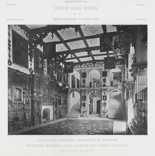 """Staircase in the Great Hall, Audley End, Essex, England. Illustration for Architectural """"Odds and Ends"""" No II, Monumental Staircases (Heliotype Printing Co, 1894). Exquisitely printed."""