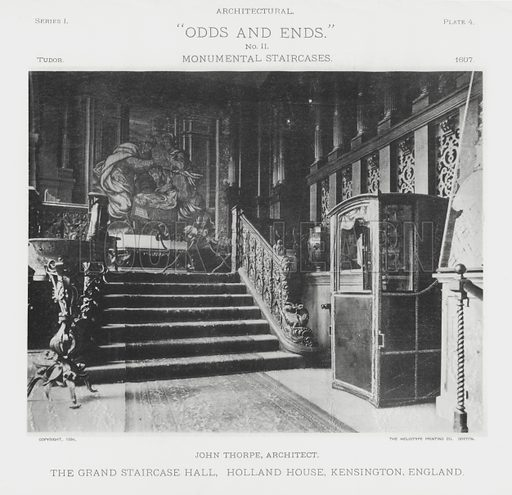 """The Grand Staircase Hall, Holland House, Kensington, England. Illustration for Architectural """"Odds and Ends"""" No II, Monumental Staircases (Heliotype Printing Co, 1894). Exquisitely printed."""