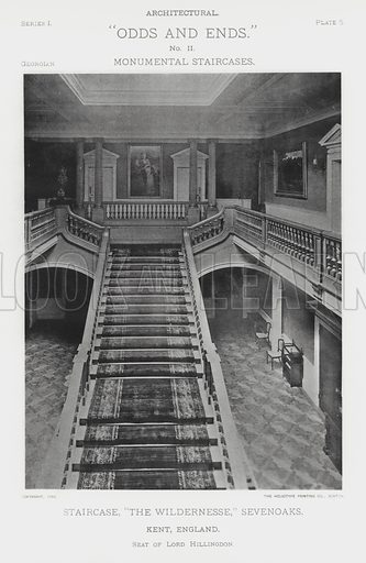 """Staircase, """"The Wildernesse,"""" Sevenoaks, Kent, England. Illustration for Architectural """"Odds and Ends"""" No II, Monumental Staircases (Heliotype Printing Co, 1894). Exquisitely printed."""
