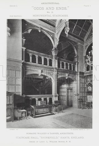"""Staircase Hall, """"Rhinefield,"""" Hants, England. Illustration for Architectural """"Odds and Ends"""" No II, Monumental Staircases (Heliotype Printing Co, 1894). Exquisitely printed."""