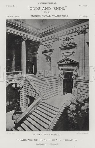 """Staircase of Honor, Grand Theatre, Bordeaux, France. Illustration for Architectural """"Odds and Ends"""" No II, Monumental Staircases (Heliotype Printing Co, 1894). Exquisitely printed."""