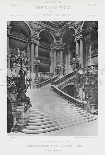 "Grand Staircase of the Nouvel Opera, Paris, France. Illustration for Architectural ""Odds and Ends"" No II, Monumental Staircases (Heliotype Printing Co, 1894). Exquisitely printed."