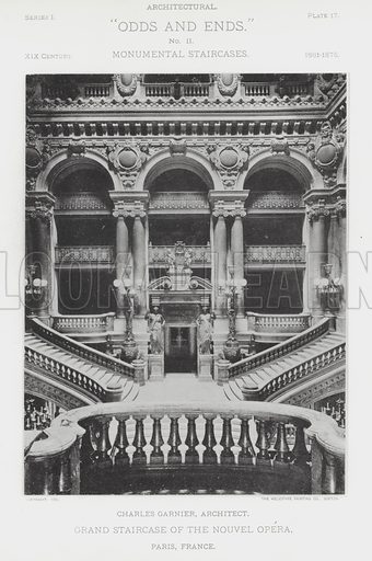 """Grand Staircase of the Nouvel Opera, Paris, France. Illustration for Architectural """"Odds and Ends"""" No II, Monumental Staircases (Heliotype Printing Co, 1894). Exquisitely printed."""