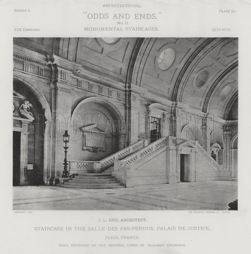 """Staircase in the Salle Des Pas-Perdus, Palais De Justice, Paris, France. Illustration for Architectural """"Odds and Ends"""" No II, Monumental Staircases (Heliotype Printing Co, 1894). Exquisitely printed."""