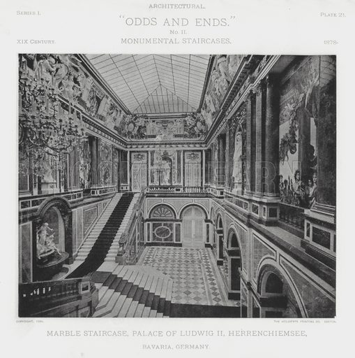 """Marble Staircase, Palace of Ludwig II, Herrenchiemsee, Bavaria, Germany. Illustration for Architectural """"Odds and Ends"""" No II, Monumental Staircases (Heliotype Printing Co, 1894). Exquisitely printed."""