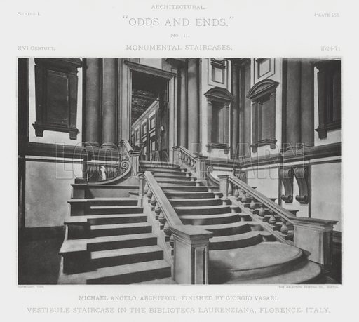 """Vestibule Staircase in the Biblioteca Laurenziana, Florence, Italy. Illustration for Architectural """"Odds and Ends"""" No II, Monumental Staircases (Heliotype Printing Co, 1894). Exquisitely printed."""