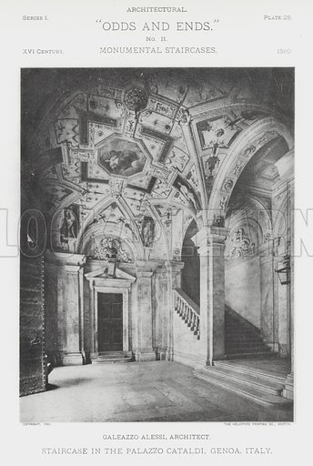 """Staircase in the Palazzo Cataldi, Genoa, Italy. Illustration for Architectural """"Odds and Ends"""" No II, Monumental Staircases (Heliotype Printing Co, 1894). Exquisitely printed."""
