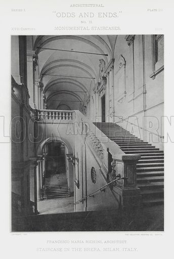 "Staircase in the Brera, Milan, Italy. Illustration for Architectural ""Odds and Ends"" No II, Monumental Staircases (Heliotype Printing Co, 1894). Exquisitely printed."