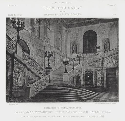 "Grand Marble Staircase in the Palazzo Reale, Naples, Italy. Illustration for Architectural ""Odds and Ends"" No II, Monumental Staircases (Heliotype Printing Co, 1894). Exquisitely printed."