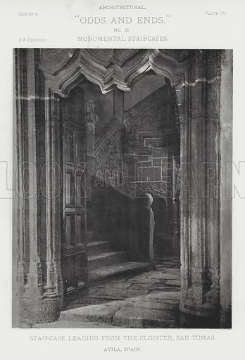 "Staircase leading from the Cloister, San Tomas, Avila, Spain. Illustration for Architectural ""Odds and Ends"" No II, Monumental Staircases (Heliotype Printing Co, 1894). Exquisitely printed."