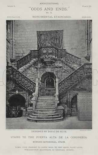 """Stairs to the Puerta Alta De La Coroneria, Burgos Cathedral, Spain. Illustration for Architectural """"Odds and Ends"""" No II, Monumental Staircases (Heliotype Printing Co, 1894). Exquisitely printed."""