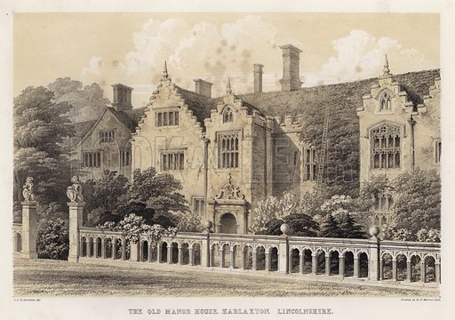 The old manor house, Harlaxton, Lincolnshire. Illustration for Studies from Old English Mansions, Third Series, by C J Richardson (Thomas McLean, 1845).